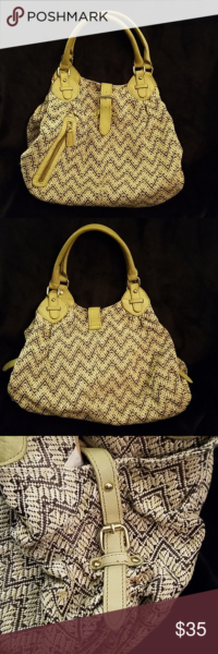 """Photo of ANTHROPOLOGIE """"Miss Albright"""" Satchel Macrame body. Chevron design in grey and l…"""