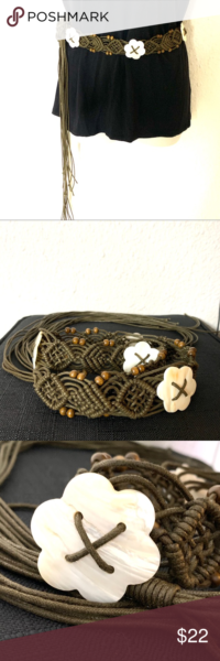 """Photo of Boho Macrame Wood Beads Mother Of Pearl Belt 72"""" So unique Mother of Pearl flo…"""