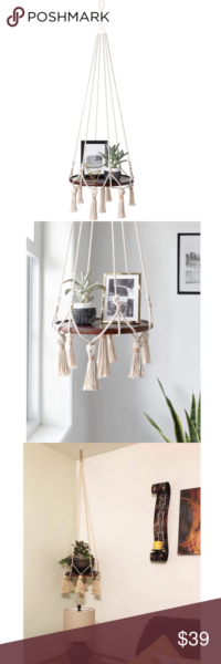 Photo of Hanging Shelf Macrame Plant Hanger Pot Holder This hanging table holder is perfe…