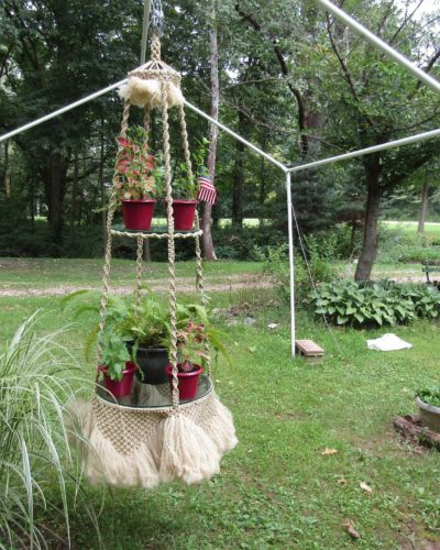 Photo of Huge Double-Tier 70s Macrame Plant Hanger with Glass Shelves
