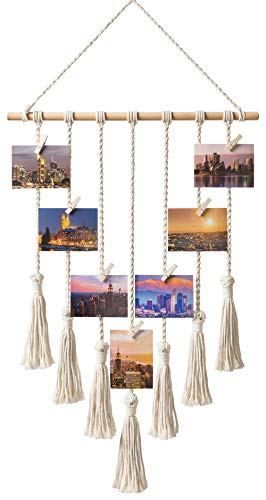 Photo of Mkono Hanging Photo Display Macrame Wall Hanging Pictures Organizer Boho Home Decor, with 25 Wood Clips – BoughtAgain