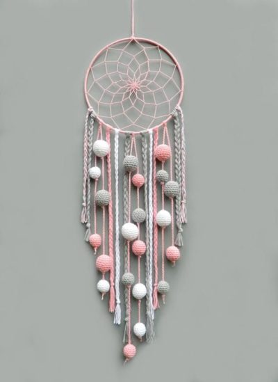 Photo of Pink nursery dream catcher Kids room decor wall hanging Christmas gift for baby girl Dreamcatcher with pompoms Baby shower gift