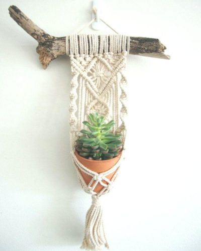 Photo of This is beautiful little Macrame Plant Hanger is handcrafted with delicate detai…