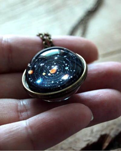 Photo of Unisex Glow In The Dark Moon Galaxy Planet Glass Cabochon Pendant Necklace Vintage Jewelry Wo…