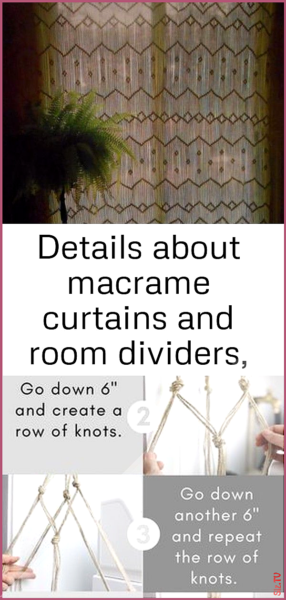 Photo of Details about macrame curtains and room dividers van plant hangers vintage patte…