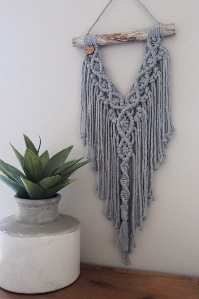 Photo of Excited to share this item from my #etsy shop: Stone Grey Macramé Wall Hanging …