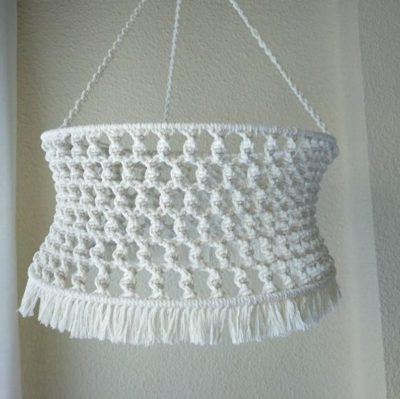 Photo of Macrame lamp shade with fringes, handmade bohemian lamp shade for home decoratio…
