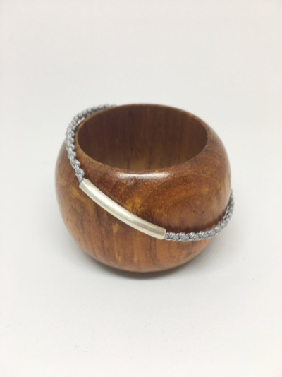 Photo of Minimalist Murano glass and sterling silver bracelet. Gray macrame and silver cuff bracelet. Simple silver bracelet. Gift for teacher.