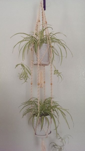 Photo of 2-Tier- 60″ Inches Long Hand Crafted Macrame Plant Hanger with Wooden Beads- Cream (Available white colors)