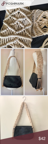 Photo of Berge Italian leather handbag with macramé strap Love this unique bag! Lovely s…
