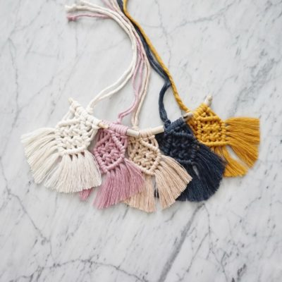 """Photo of Cotton + Tree's Instagram post: """"Happy Sunday to y'all💕 New mini macrame hanging/rear view mirror charms added to the shop✨✨ . . . #macrame #macramemakers #modernmacrame…"""""""