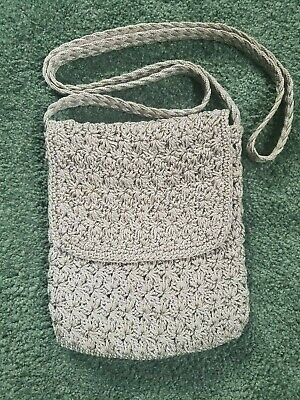 Photo of Crossbody Small Crocheted Purse Gray Macrame Woven Small Event Bag and Coin Bag …