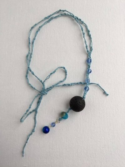 Photo of Gentle Blue/ In-Car Lava Bead Diffuser/ Macrame Mirror Hanger/ Aromatherapy Essential Oil Diffusing Car Hanger