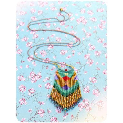 Photo of Hand woven micromacrame pendant with multicolor miyuki delica seed beads and diamonds patterns