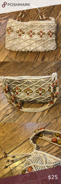 Photo of Hippie Style macrame/wooden bead shoulder bag NWOT NWOT 100% Waxed Cotton & Wood…