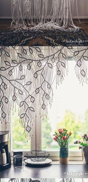 Photo of Home Decorating Ideas Bohemian DIY macrame curtain with asymmetric pattern tutorial. Only one…