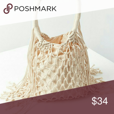Photo of Macrame Shoulder Bag Urban Outfitters Ivory Beachy boho style knotted macramé s…