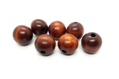 Photo of Macrame Wood Beads 1.5″/ 38mm Brown Large Vintage Wooden Bead Set of Two Round Beads with Large Hole 1970s 70s Jewelry Supply Craft Supply