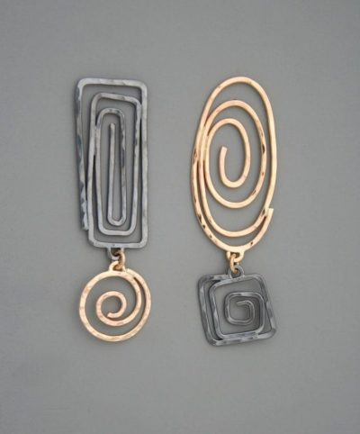 Photo of Mixed metal spiral earrings in sterling silver and gold filled, Rachel Wilder Ha…