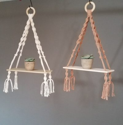 Photo of Natural and Copper macrame wood shelves