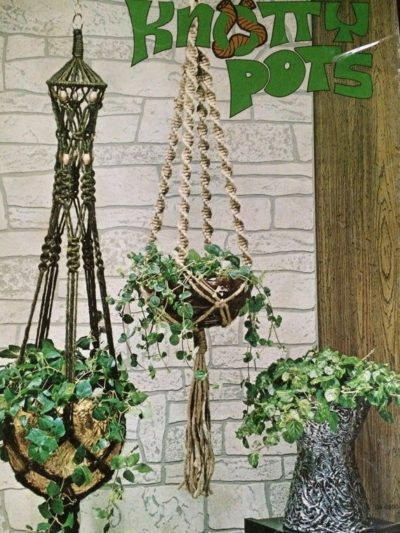 Photo of Start small, learn macrame for small plant hangers and specialty pots Knotty pots DIY 1970's instructions and 5 patterns. Easy macrame