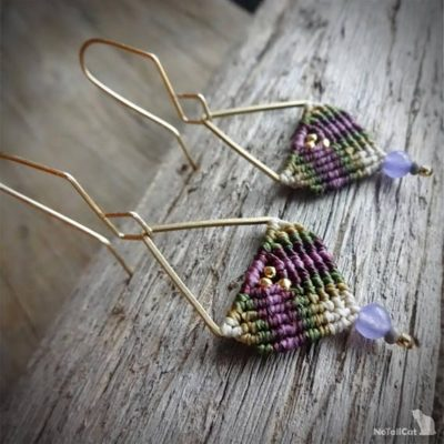 Photo of macrame earrings, beaded earrings, 925 sterling silver 24K gold plated beads, gold plated copper earwires, brass triangle