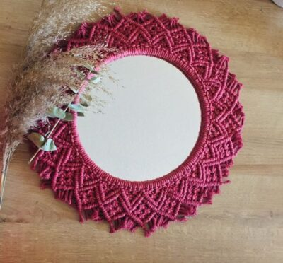 Photo of $199.99 · Handmade Macrame Mirror The diameter of this wall hanging is 75 cm (3…