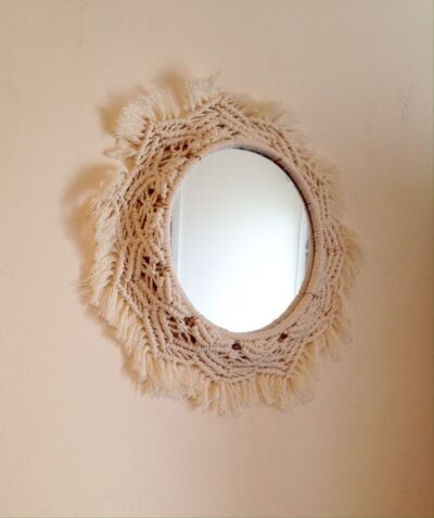 Photo of Excited to share this item from my #etsy shop: Starburst Mirror with Macrame Fra…