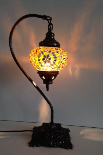 Photo of Gold Swan Neck Mosaic Lamp With Vintage Look Square Base