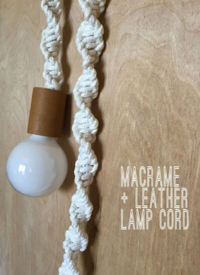 Photo of Items similar to Macrame + Leather Lamp Cord on Etsy