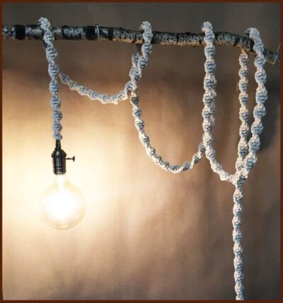 Photo of Items similar to Modern Macrame rope light – perfect macrame home lamp gift that adds romantic shade to any room. Wedding macrame light / macrame lamp shade on Etsy