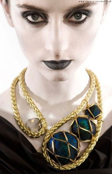 Photo of Lucy Hutchings gold statement necklace