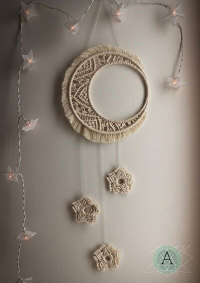 Photo of Macrame Moon and Stars dream catcher. Bedroom or nursery, vegan friendly dreamcatcher, macrame wall hanging handmade with natural cotton