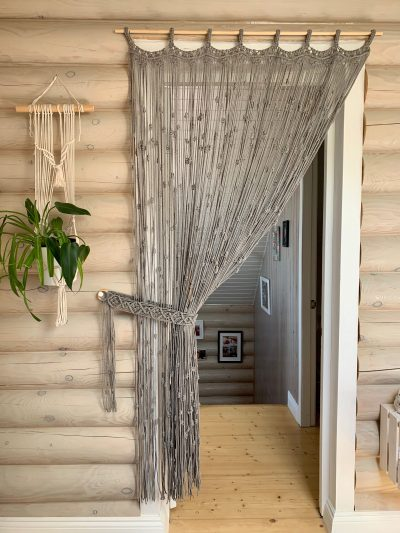 Photo of Macrame Set of Curtain With Curtain Holder, Boho Room Divider, Macrame Bohemian Curtains, Modern Wedding Backdrop, Wall Art Tapestries, Gift