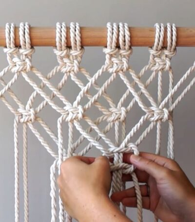 Photo of Macrame: Starting Your Work! Overlapping Square Knot Pattern – AllMacrame