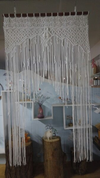 Photo of Macrame curtain, wedding arch, 120cm wide and 200cm high, 3mm rope, modified des…