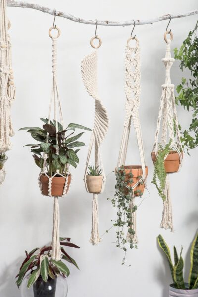Photo of Macrame plant hangers Long suspended wall planter indoor outdoor large decorative pot holder Rope crochet ceiling hanging planter boho decor