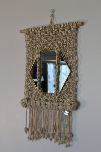 """Photo of Macrame wall hanging """"Mirror Me"""". Hexagonal mirror with left square knot pattern with silk cord. Handmade."""