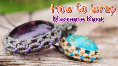 Photo of New design/How to make macrame knot wrap cabochon pendant amethyst stones with waxed thread