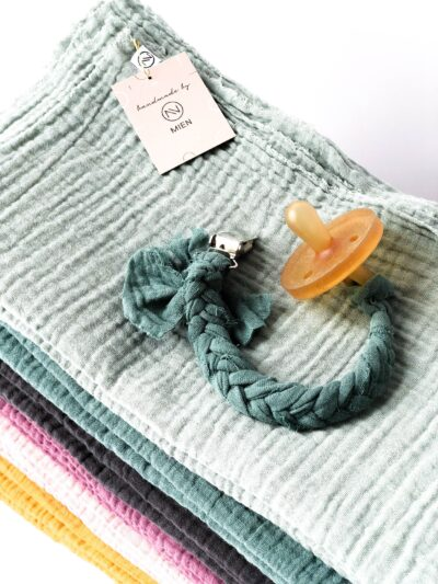 Photo of Pacifier ribbon muslin, color of choice, braided pacifier chain, muslin cloth, pacifier, pacifier necklace sage, gift to birth