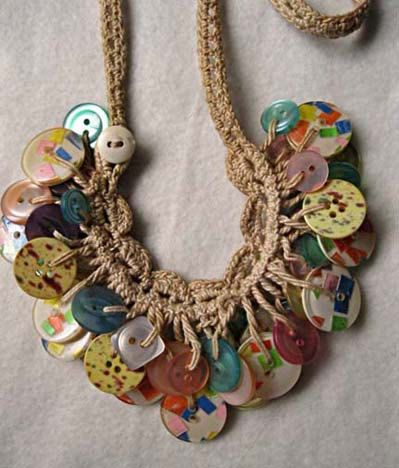 Photo of Rare WWII vintage button clusters macrame long necklace