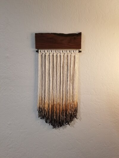 Photo of Rustic Macrame and Wood Wall Hanging, Small Macrame, Bohemian Decor, Woven Wall Hanging, Wall Art, Cotton Rope, Ombre, Fibre art
