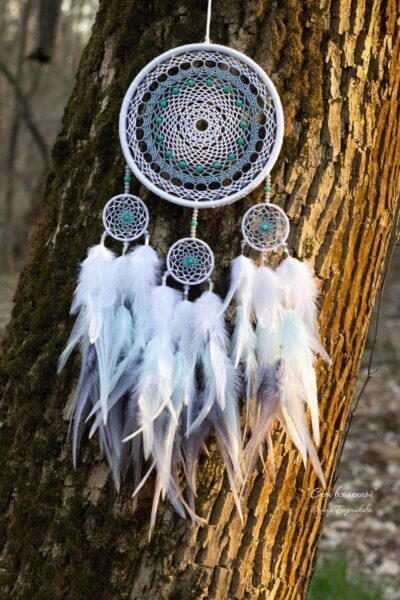 Photo of White, gray and mint medium dreamcatcher. Nursery dreamcatcher decor. Stylish and modern amulet for good dreams.