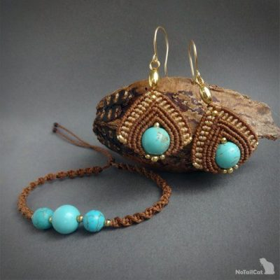 Photo of macrame earrings, 925 sterling silver 24K gold plated beads, 24K gold plated wire, turquoise beads